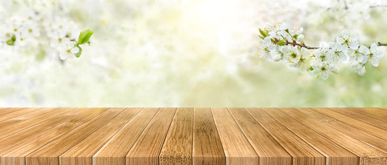Spring background with white blossoms and sunbeams in front of a wooden table. Spring apple garden on the background Fotomurales