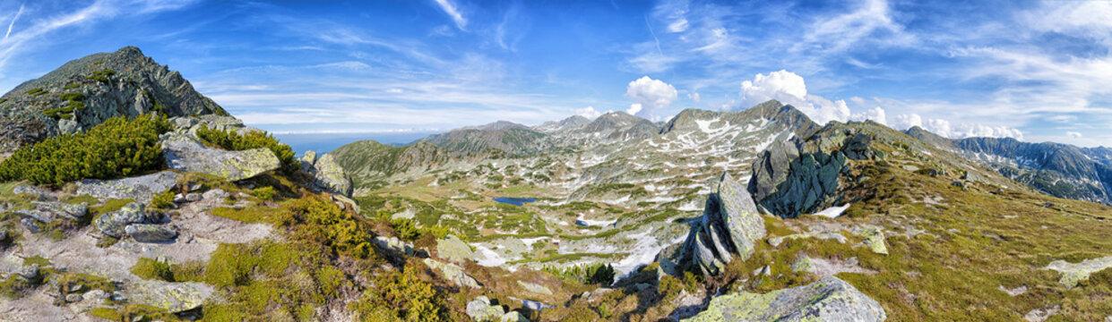 Landscape view in the Carpathian mountains in Retezat National Park (Romania).