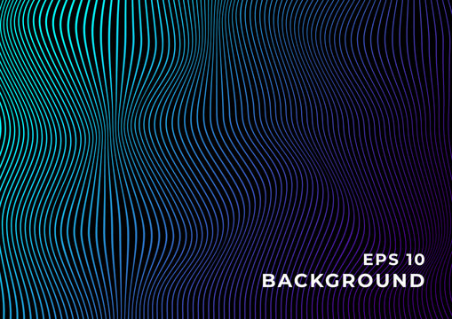 Black background with wavy blue purple gradient lines. Design for banner, wallpaper, website and other graphics. Eps 10.