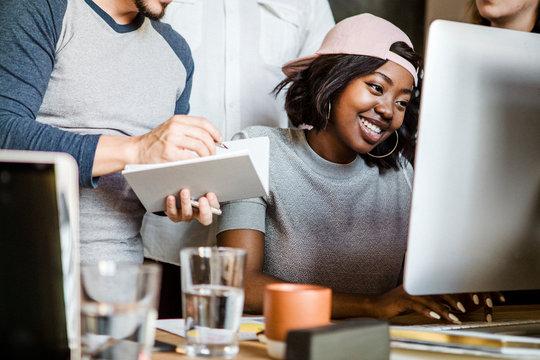 Diverse startup team working together