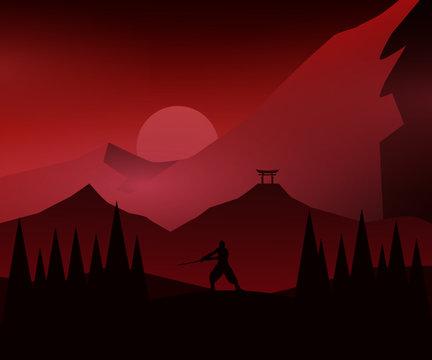 Samurai vector illustration of a mountain landscape