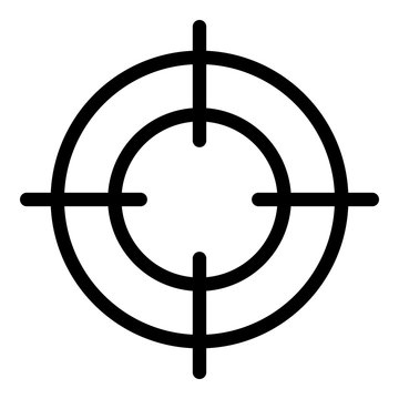Gun target icon. Outline gun target vector icon for web design isolated on white background