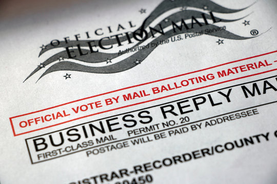 Closeup of a mail ballot envelope