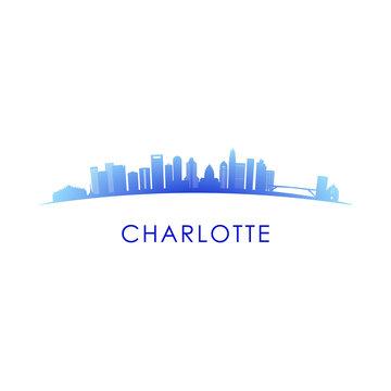 Charlotte skyline silhouette. Vector design colorful illustration.