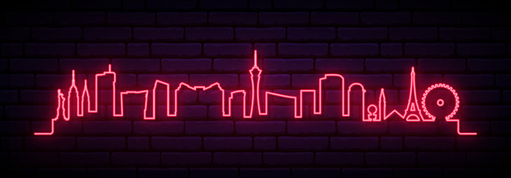 Red neon skyline of Las Vegas city. Bright Las Vegas long banner. Vector illustration.
