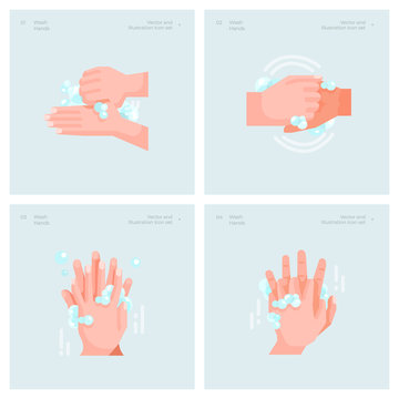 Vector Illustration Design Concept of Wahsing Hands. Hand Cleaning and Hygiene Concept.