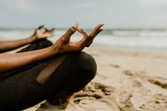Active women meditating