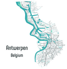 Antwerpen (Antwerp), Belgium map — rivers, water, roads and highways on white background