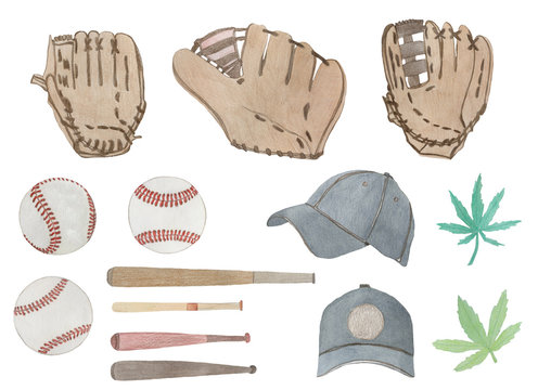 Watercolor baseball set and hemp leaves, painted on white background, hand drawn