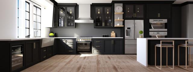 Panoramabild einer modernen Küche