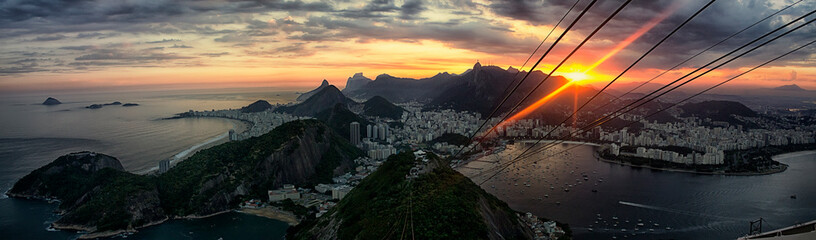 Self adhesive Wall Murals Rio de Janeiro Panorama of Rio de Janeiro, bird's-eye View of Rio de Janeiro at sunset, beautiful view from Sugarloaf mountain, Brazil, South America