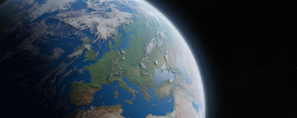 View of blue planet Earth in space 3D rendering elements of this image furnished by NASA Fotomurales