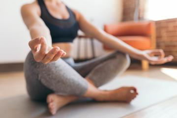 Aluminium Prints Yoga school Meditation at home