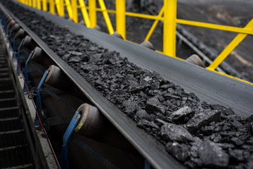 opencast mine - belt conveyor - coal, stones - transport