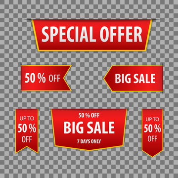 Red banner special offer and big sale on a transparent background. Vector illustration.