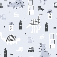 Spoed Fotobehang Op straat Baby cute seamless pattern with buildings, cars and dinosaurs. Good for kids fabric, textile, nursery wallpaper. Seamless city landscape. Childish style. Blue background.