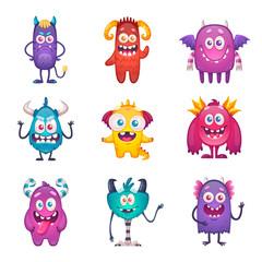Door stickers Monster Funny Cartoon Monster Set