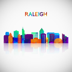 Raleigh skyline silhouette in colorful geometric style. Symbol for your design. Vector illustration.