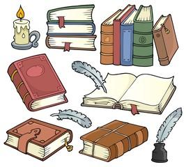 Spoed Fotobehang Voor kinderen Old books theme set 1