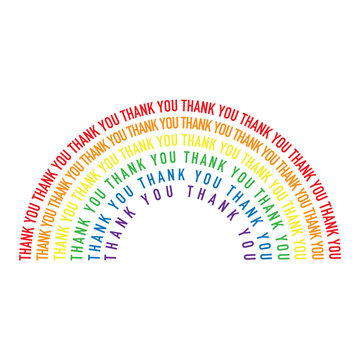 Colourful rainbow made from thank you message