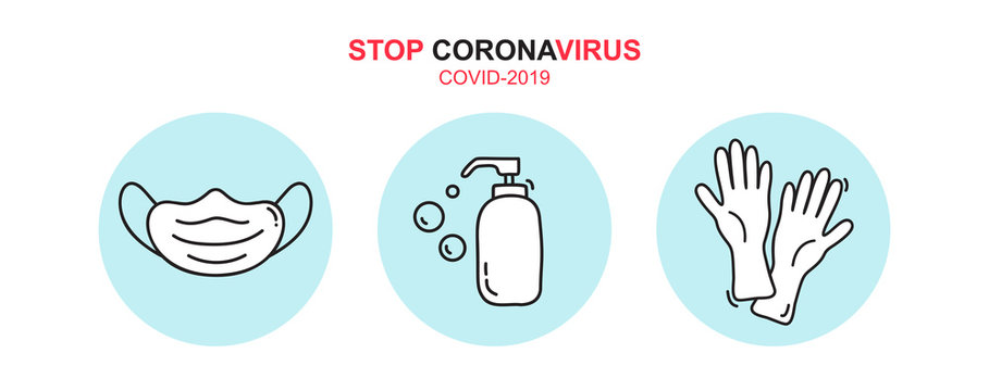Stop coronavirus text icon. Vector monoline soap gel bottle sanitizer, medical mask and rubber gloves icons. Simple element illustration for covid-19. Personal hygiene