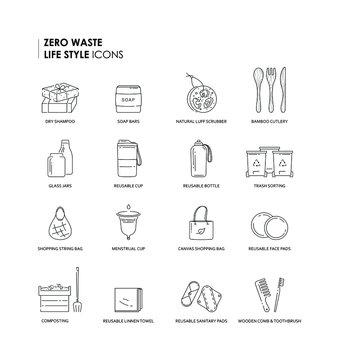 Set of zero waste life style linear icons.Sustainable life style thin line icons. Eps 10 vector illustration.