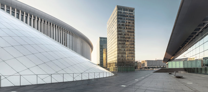 A view on Philharmonie and office buildings in a business district in Luxembourg