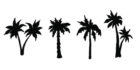 Set of Palm tree Silhouette vector illustration. Coconut Tree Icon Vector Isolated White Background.