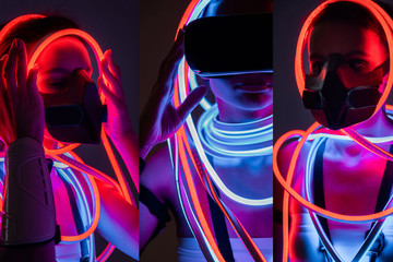collage of futuristic african american woman in respirator, vr headset and neon lighting Wall mural