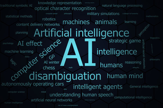 AI or Artificial intelligence word cloud for use as background in color dark blue.