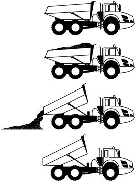 Articulated Dump Truck (ADT) - Articulated hauler - dump hauler - 6x6 - shape - silhouette - icon - monochrome - large heavy duty type of dump truck - Dropping - Unloading - set - package