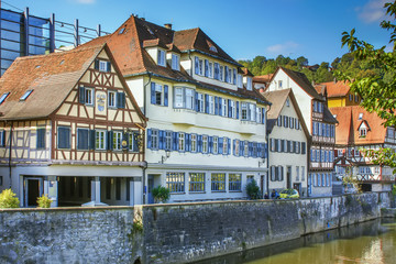 Fotomurales - Half-timbered houses in Schwabisch Hall, Germania