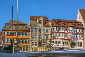 Fototapete - Marktplatz square in Schwabisch Hall, Germany