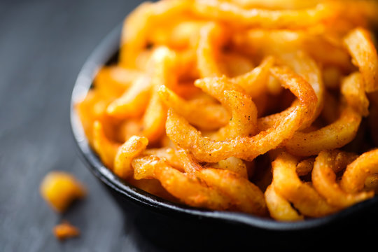 rustic golden crispy curly fries