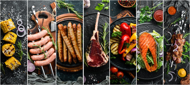 Photo collage. Barbecue menu on black stone background. Kebab, steak, vegetables and seafood.