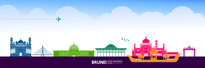 Wall Mural - Brunei  travel destination grand vector illustration.