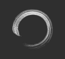Silver metal brush stroke. Circle frame isolated on transparent background. Vector gray glitter mascara brushstroke.