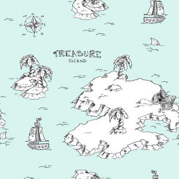 Treasure island pirate map - seamless pattern