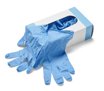 box of rubber gloves isolated on white background