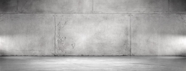 Fototapeten Dunkelgrau Concrete Wall and Floor Background Wide Panoramic Empty Spotlight Garage Scene