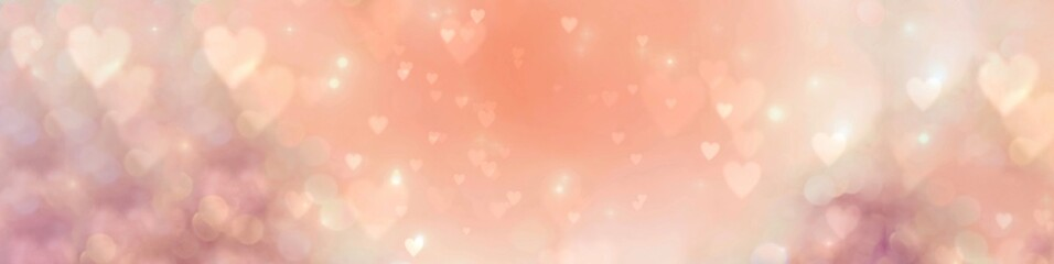 Fototapete - Happy Mother's Day, Women's Day, Valentine's Day or Birthday Background Banner - Abstract coral and pink heart shaped bokeh