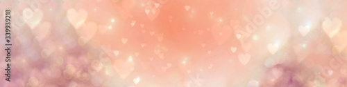 Happy Mother's Day, Women's Day, Valentine's Day or Birthday Background Banner - Abstract coral and pink heart shaped bokeh