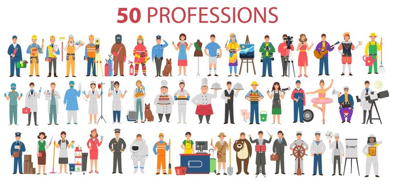 50 professions. Big set of professions in cartoon flat style for children. International Workers' Day, Labour Day