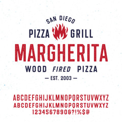 "Custom vertical slats for kitchen with your photo Vintage Textured Typeface ""Margherita"" And Sample Typographic Emblem Logo Design. Double set of Characters with Different Texture. Fire Vector Illustration."