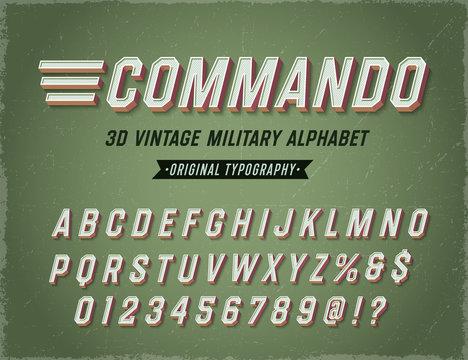 'Commando' Vintage Retro 3D Military Alphabet. Army Font. Original Athletic Department Typeface. Retro Typography. Vector Illustration.
