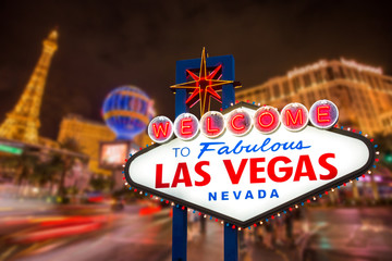 Foto auf Gartenposter Las Vegas Welcome to fabulous Las vegas Nevada sign with blur strip road background