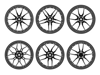 Set of car wheel disks, isolated on white background. Rims set collection on the white background. Car wheels set. Vector