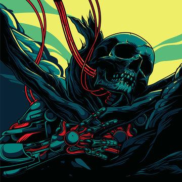mechanical skeleton illustration and poster design