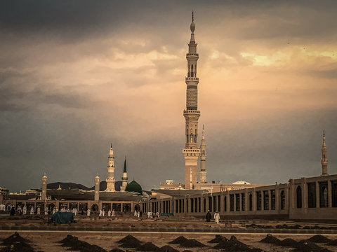 View Of Al Madinah Against Cloudy Sky