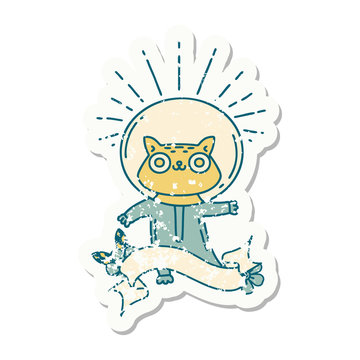 grunge sticker of tattoo style cat in astronaut suit